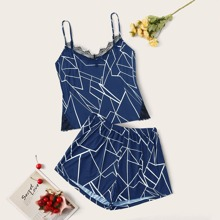 Plus Contrast Lace Geo Print Cami Top With Shorts PJ Set