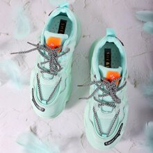 Mesh Panel Letter Graphic Chunky Sneakers