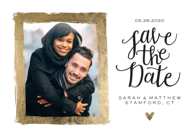 Save the Date 5x7 Cards, Premium Cardstock 120lb with Rounded Corners, Card & Stationery -Save the Date Gold Brush