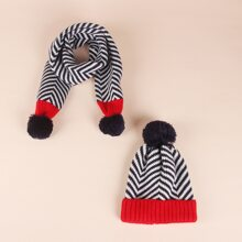2pcs Toddler Kids Striped Beanie & Scarf