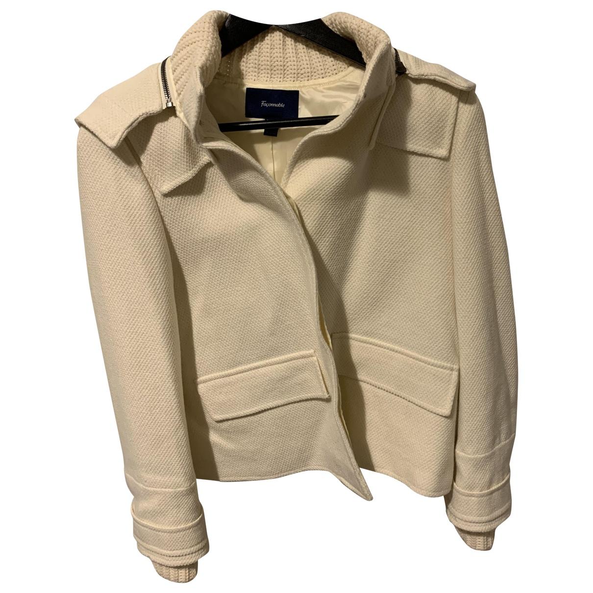Faconnable - Manteau   pour femme en laine - ecru