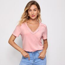 Guipure Lace Trim Solid Tee