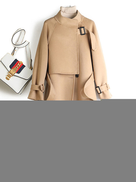 Milanoo Women Winter Coats Camel Stand Collar Long Sleeve Lace Up Woolen Coat