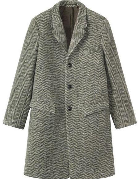 Mens Herringbone ~ Tweed 0.65 Wool full length Overcoat Topcoat Gray
