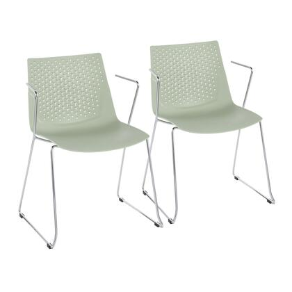Matcha Collection CH-MATCHAGN2 Set of 2 Chair with Open Armrest Design  Curved Seat  Contemporary Style  Sleigh Legs  Polypropylene  Material and