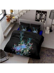 Black Flower Wear-resistant Breathable High Quality 60s Cotton 4-Piece 3D Bedding Sets