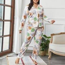 Schlafanzug Set mit Reverskragen und Blumen Muster