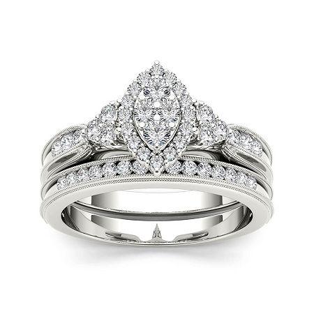 1/2 CT. T.W. Diamond 10K White Gold Bridal Ring Set, 8 , No Color Family