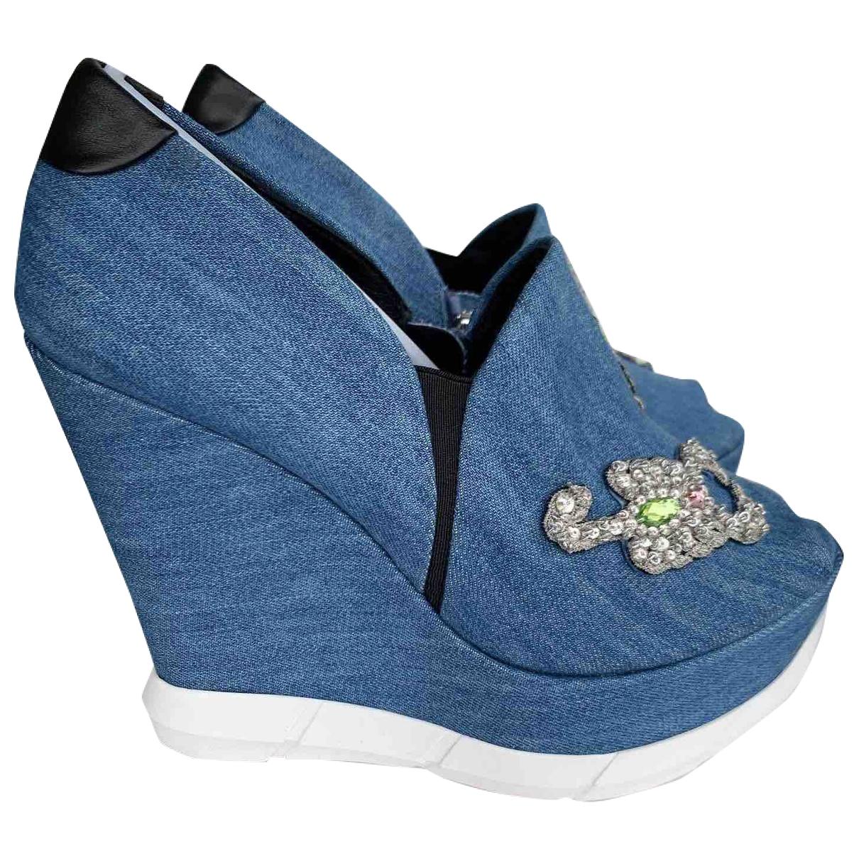 La Perla - Escarpins   pour femme en toile - bleu