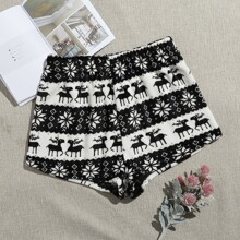 Floral And Deer Print Flannel Sleep Shorts