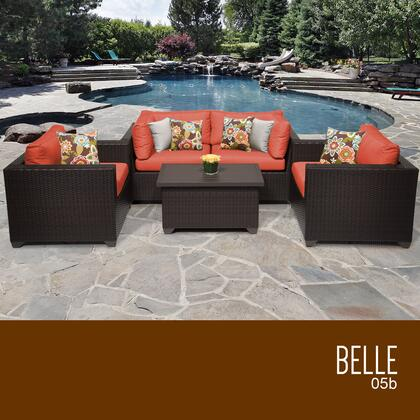 BELLE-05b-TANGERINE Belle 5 Piece Outdoor Wicker Patio Furniture Set 05b with 2 Covers: Wheat and
