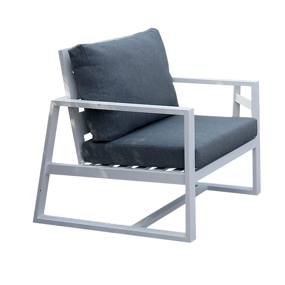 Industrial Outdoor Metal Arm Chair with Padded Seating, Gray and White (Grey)