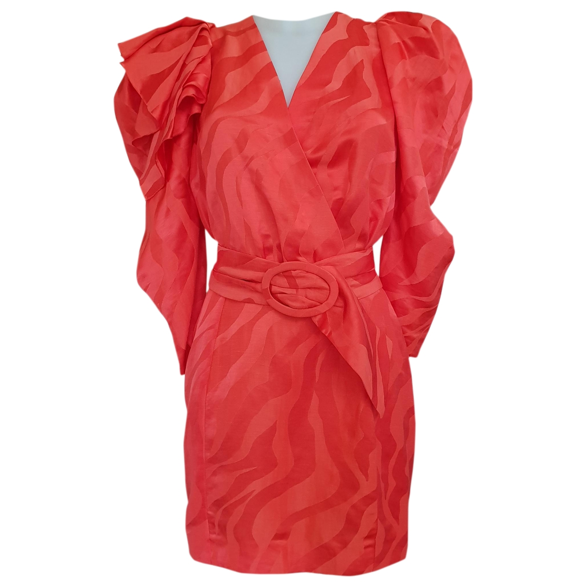 Non Signe / Unsigned \N Kleid in  Rot Leinen