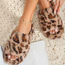 Sandalen mit Leopard Muster und Kunstpelz