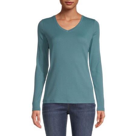 St. John's Bay-Womens Scoop Neck Long Sleeve T-Shirt, Medium , Blue