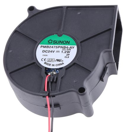 Sunon Centrifugal Fan 75.7 x 75.7 x 30mm, 7.5cfm, 24 V dc DC (PMB Series)
