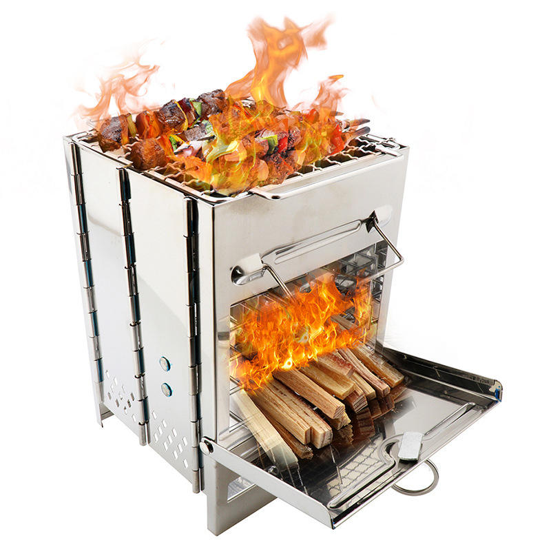 IPRee® Outdoor BBQ Charcoal Wood Stove Barbecue Cooking Stove Burner Furnace Camping Stove Wood Burning Stove