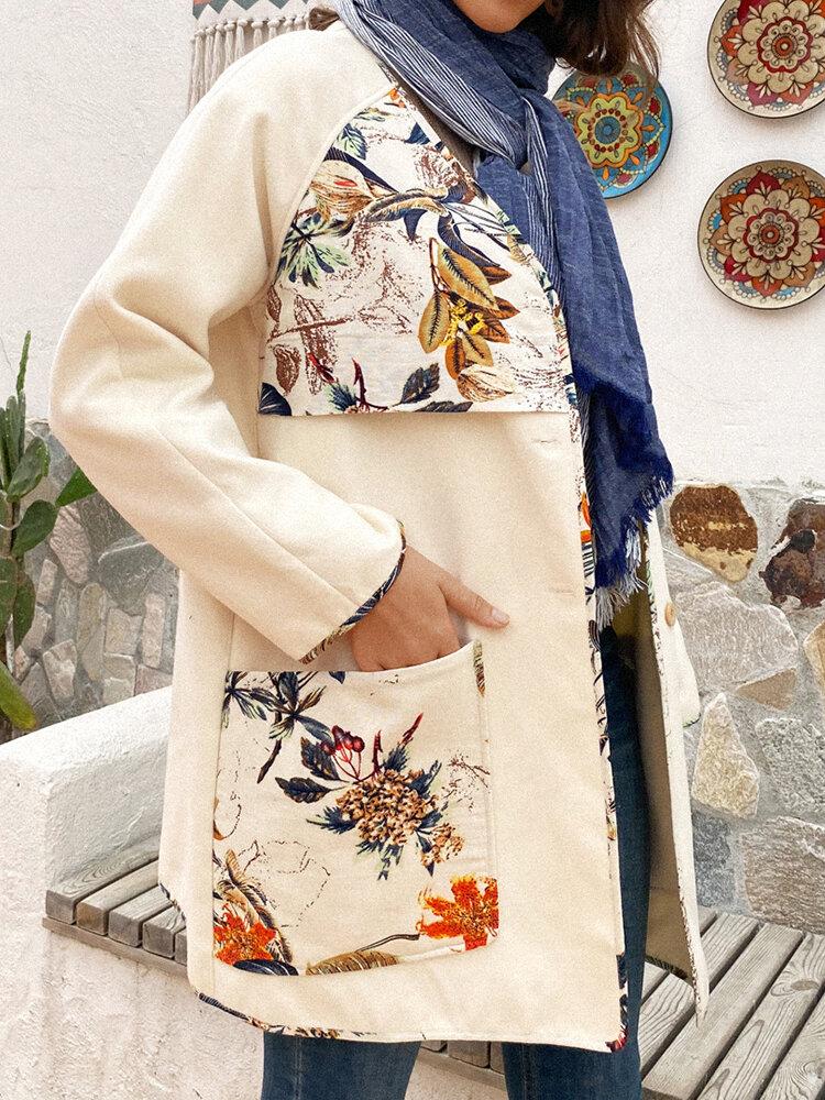 Vintage Floral Print V-neck Button Coat With Pocket