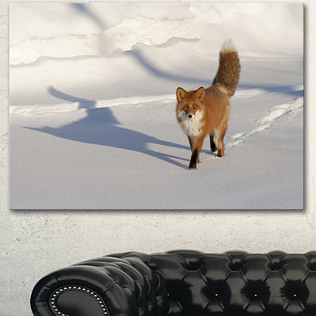 Designart Brown Winter Cat With Footprints Oversized Animal Wall Art, One Size , Brown