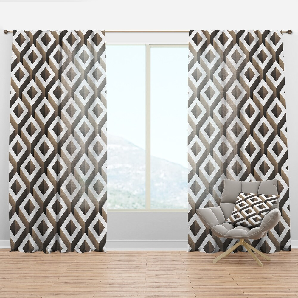 Designart 'Boxes Illustration' Scandinavian Curtain Panel (50 in. wide x 90 in. high - 1 Panel)
