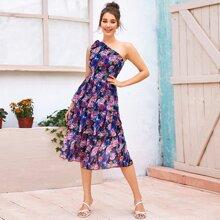 Kleid mit einer Schulter frei, mehrschichtiger Raffung und Blumen Muster