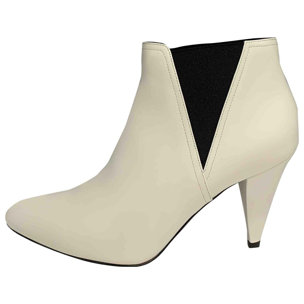 Celine - Boots   pour femme en cuir - blanc
