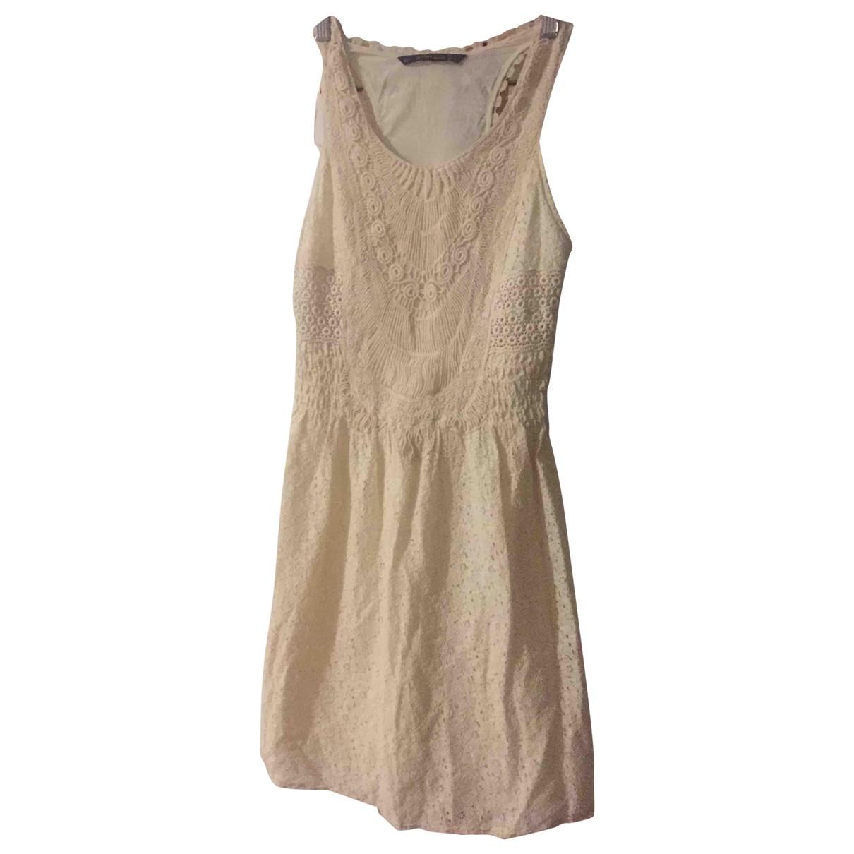 Zara - Robe   pour femme en coton - ecru
