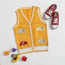 Toddler Boys Cartoon Car Graphic Button Up Sweater Vest