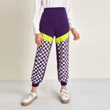 Girls Checker Color Block Sweatpants
