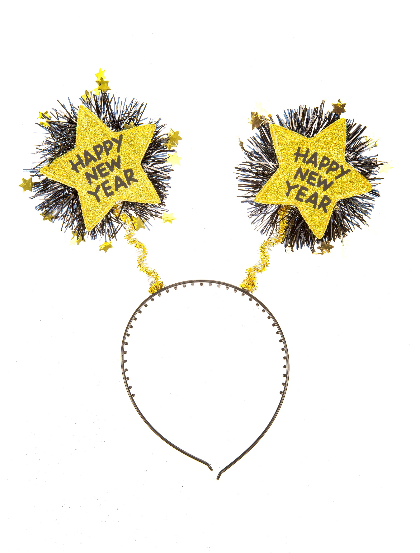 Kostuemzubehor Haarreif Happy New Year gold
