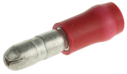 TE Connectivity Insulated Male Crimp Bullet Connector, 0.25mm² to 1.6mm², 20AWG to 15AWG, 3.96mm Bullet diameter, Red (50)