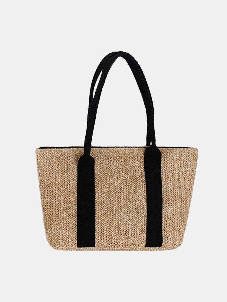 Women Beach Patchwork Large Capacity Straw Woven Handbag Tote