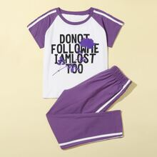 Girls Side Stripe Slogan Graphic PJ Set