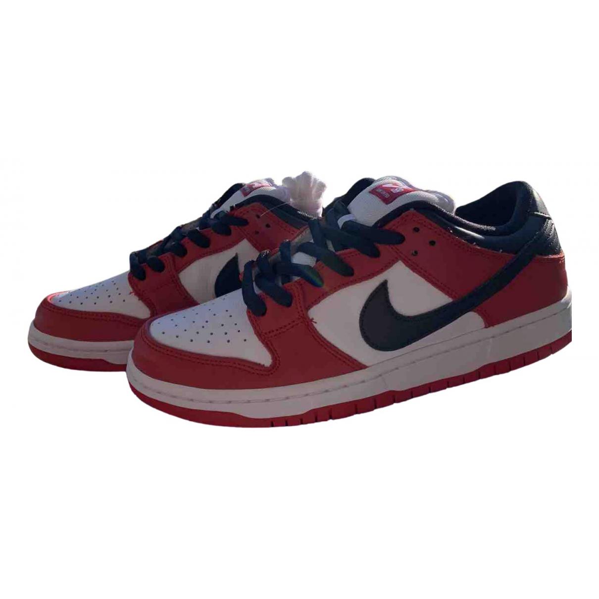 Nike - Baskets SB Dunk  pour homme en cuir - rouge