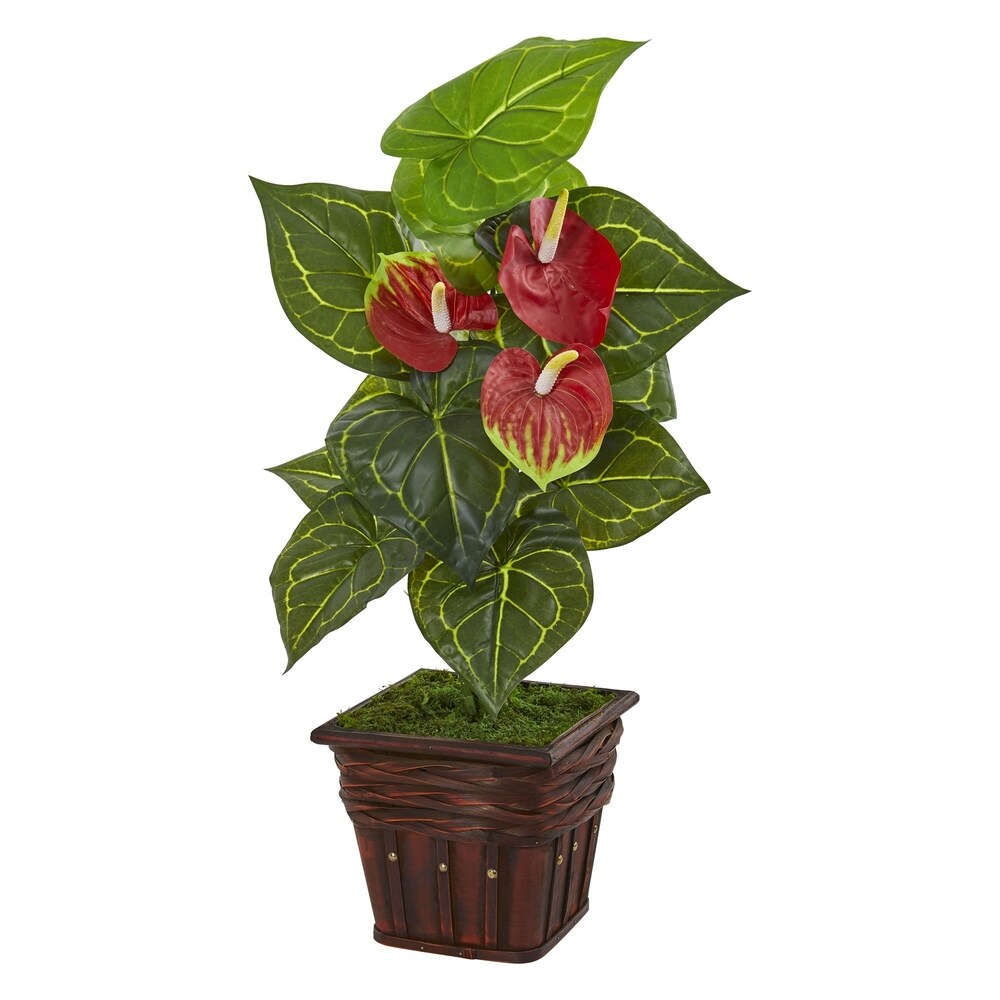 Nearly Natural 29-inch Real Touch Anthurium Artificial Plant in Decorative Wood Planter