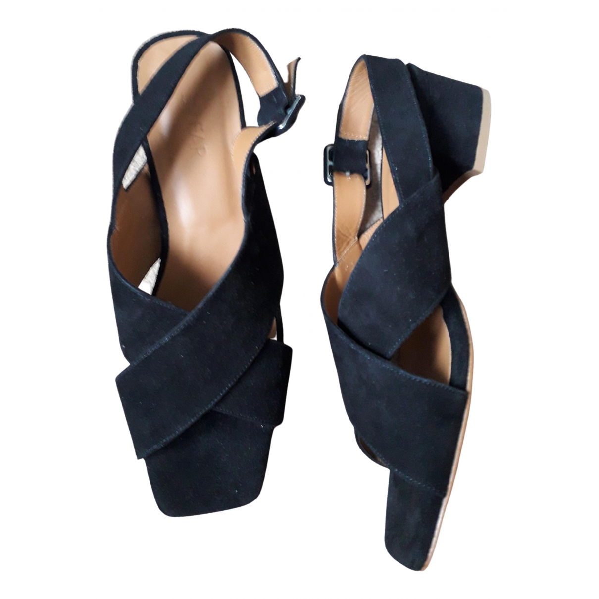 By Far \N Sandalen in  Schwarz Veloursleder