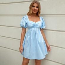 Double Crazy vestido de espalda abierta con cordon de manga farol