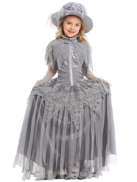 Milanoo Halloween Costumes For Kids Deep Gray Corpse Bride Tulle Kid\'s Hat Dress