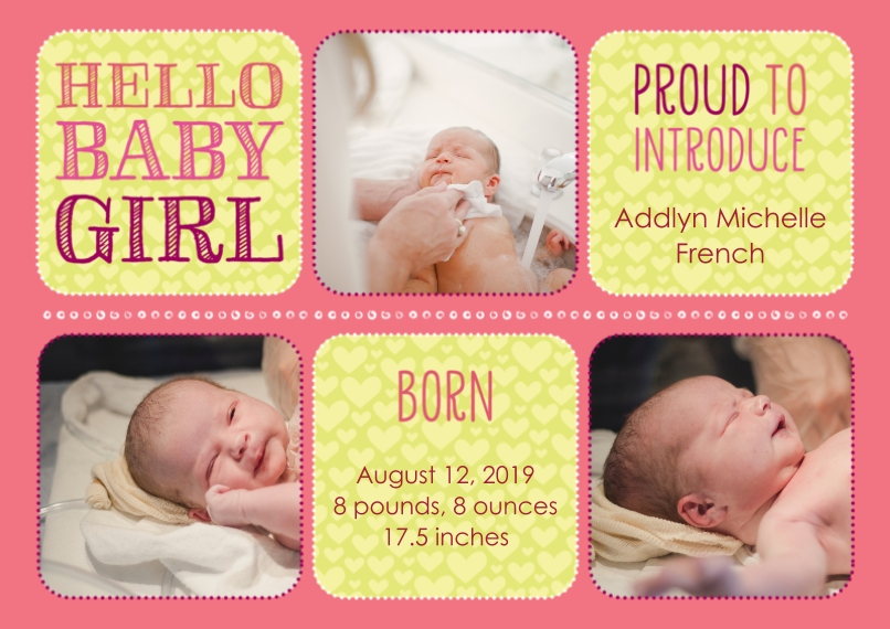 Newborn Flat Glossy Photo Paper Cards with Envelopes, 5x7, Card & Stationery -Hello Baby Girl Baby Announcement by Well Wishes