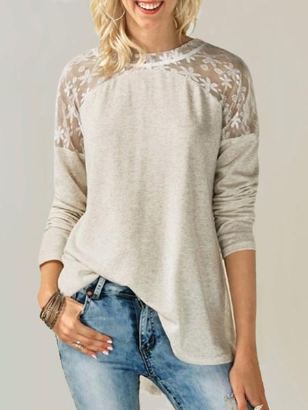 Yoins ZANZEA Patch Lace Bowknot Design Blouse