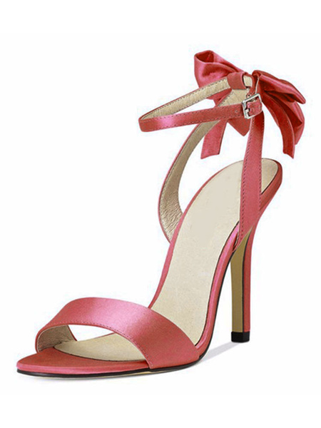 Milanoo High Heel Sandals Satin Open Toe Bow Ankle Strap Party Shoes Women Prom Shoes
