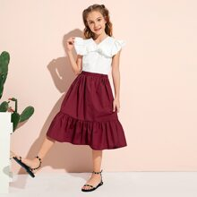 Girls Ruffle Trim Blouse and Skirt Set