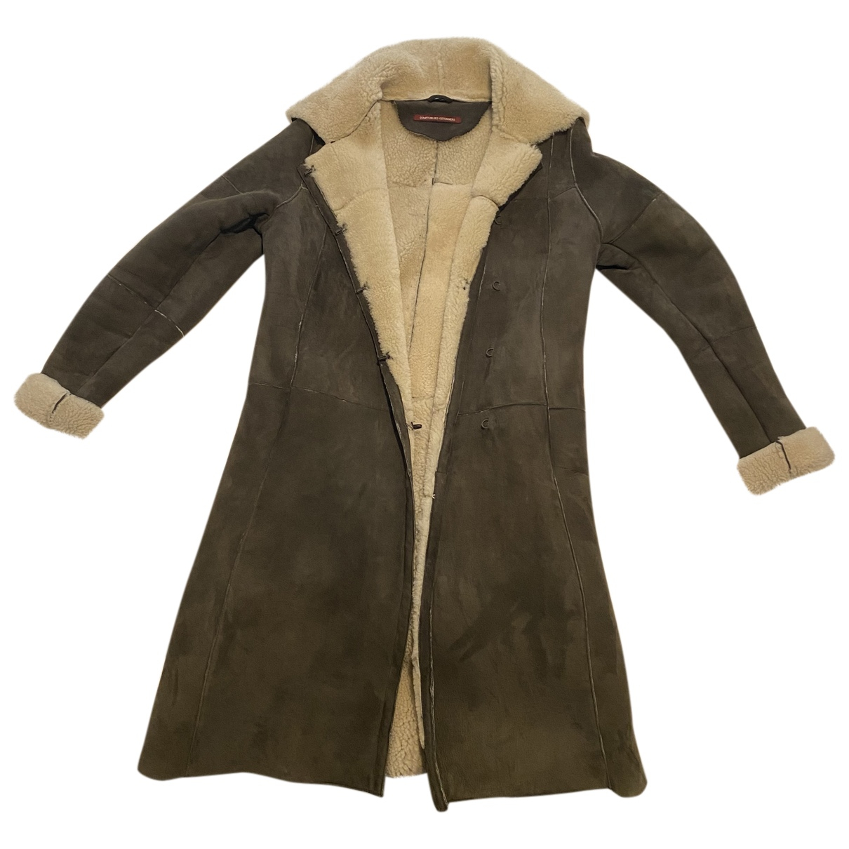 Comptoir Des Cotonniers - Manteau   pour femme en agneau de mongolie - gris