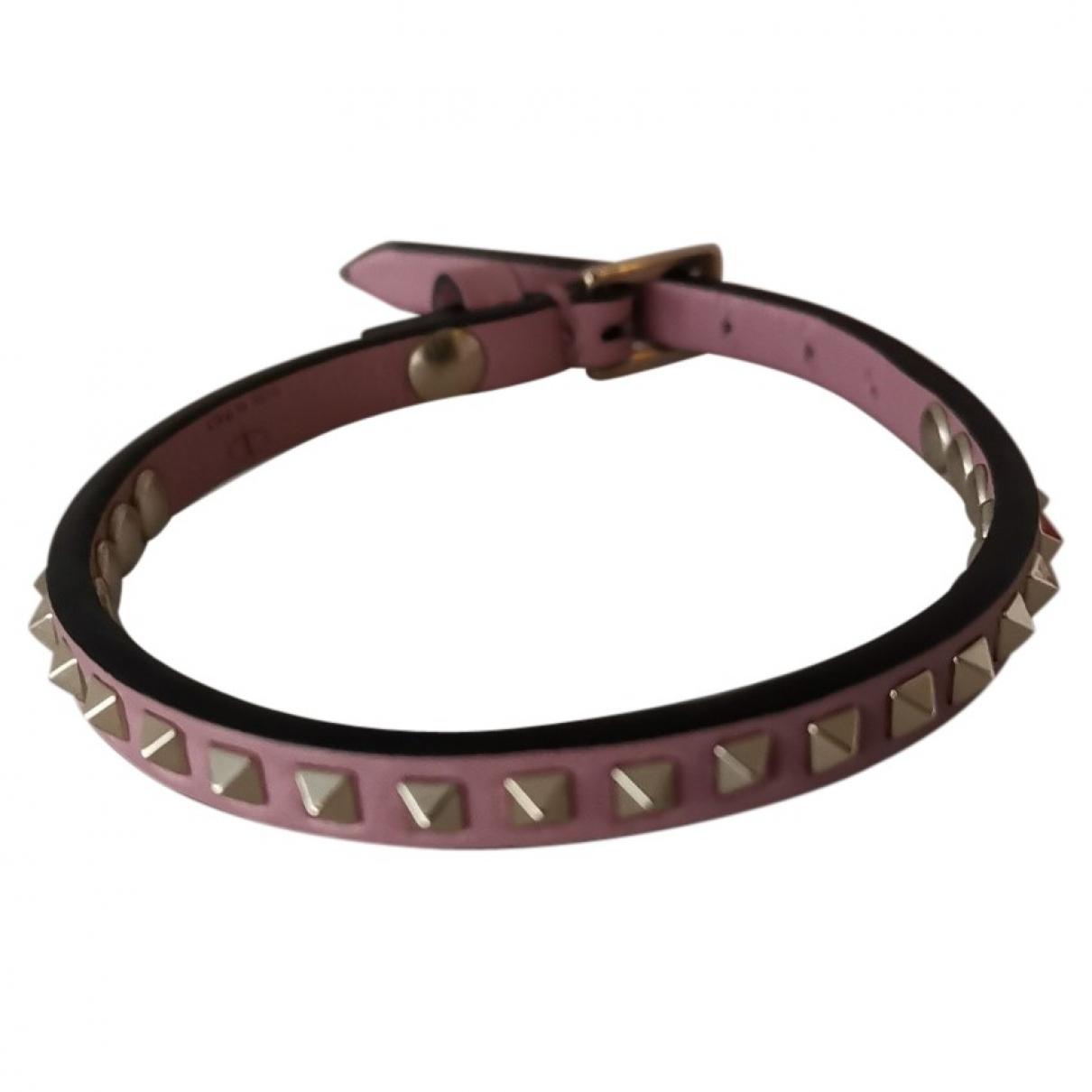 Valentino Garavani - Bracelet   pour femme en cuir - rose