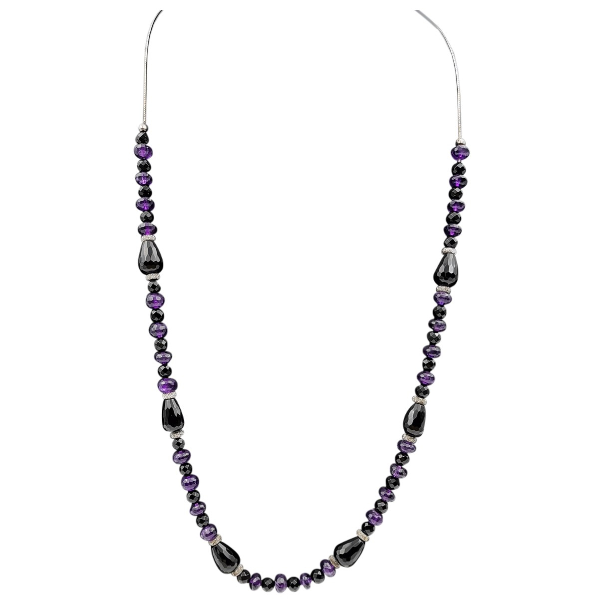 Non Signé / Unsigned \N Purple Silver Long necklace for Women \N