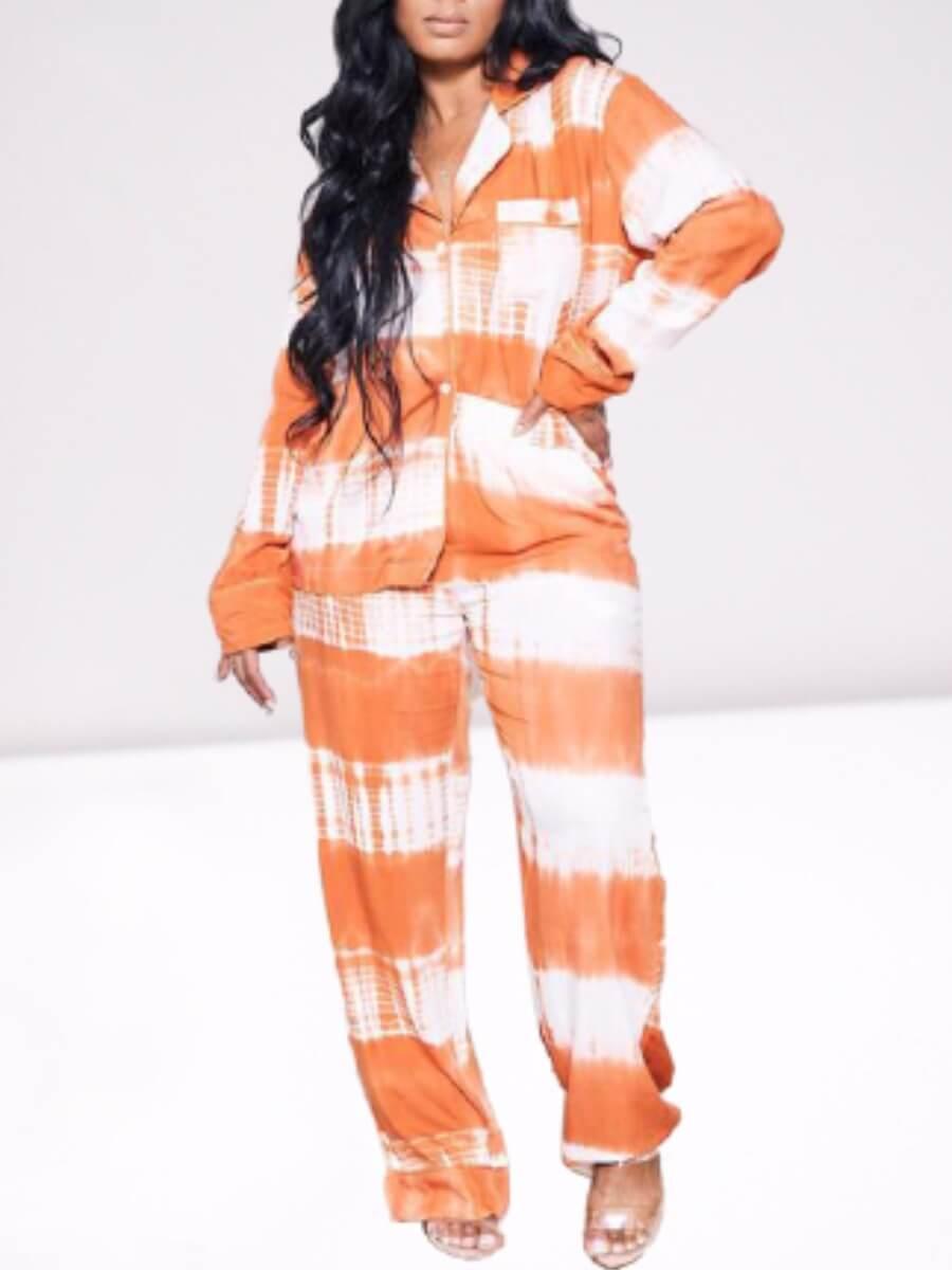 LW Lovely Stylish Turndown Collar Tie-dye Light Orange Sleepwear