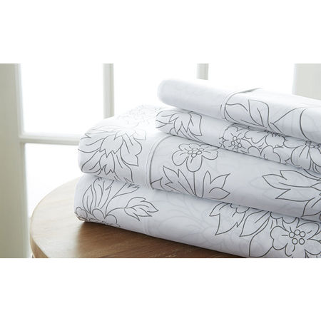 Casual Comfort Premium Ultra Soft Vine Pattern Microfiber Wrinkle Free Sheet Set, One Size , Gray