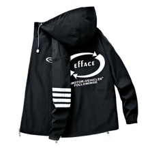 Guys Letter Graphic Hooded Coat