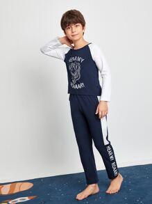 Boys Colorblock And Slogan Graphic PJ Set