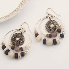 1 Paar Tribal Hoop Decor Perlen Tropfen Ohrringe